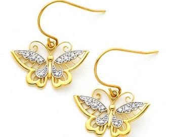 14K gold Two-tone Diamond Accent Butterfly Fish Hook Earrings