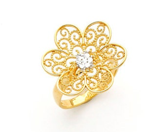 14K gold Two-tone Filigree Flower ring