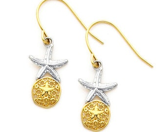 14K gold Two-tone Starfish & Sand dollar Earring on Fish Hook Wire.