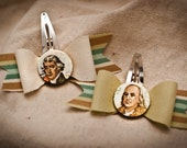 Founding Fathers Hair Clips (set of 2)- Thomas Jefferson and Benjamin Franklin
