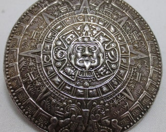 AZTEC CALENDAR 1950s Mexican Handmade Brooch Sterling Silver with Pendant/Pin