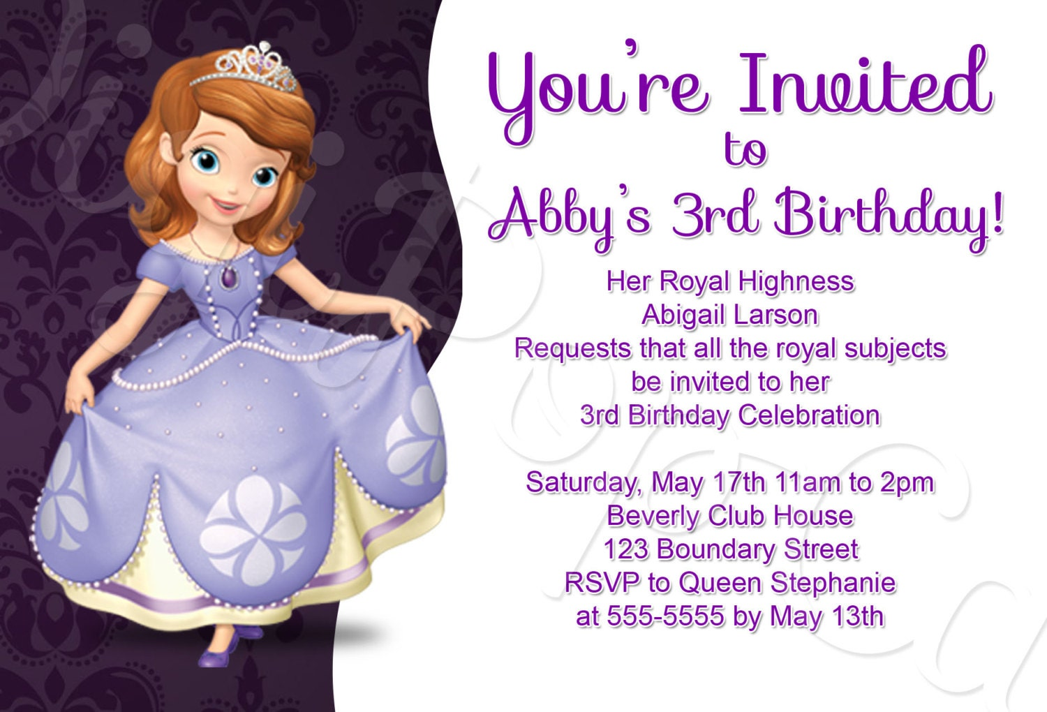 Sofia The First Birthday Party Invitation Traditional Style - Birthday invitation template sofia the first