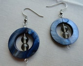 Round Mother of Pearl Navy Blue Stone Glass Beaded Earrings
