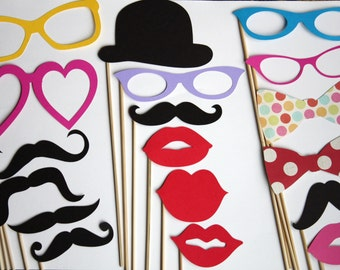 100 Photobooth Props, Wedding Props, Gender Reveal Party, Little Man Bash