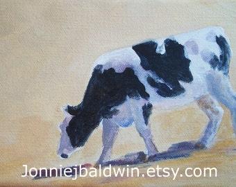 Afternoon-  Holstein Cow Digital Reproduction Print of Original Artwork by Jonnie J. Baldwin
