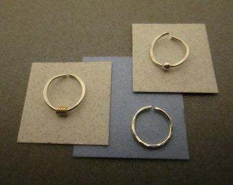 3 Silver Nose Rings, Choice of Plain Rings or Set w/ One 14K Gold Filled Coil & One Sterling Silver Bead, Choice of Gauges and Diameters