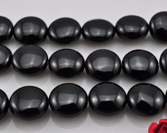 39 pcs of Black Onyx smooth coin beads in 10mm