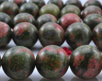 28 pcs of  Unakite smooth round  beads in 14mm