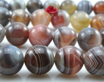 32 pcs of  Natural Botswana Agate smooth round beads in 12mm (0565#)