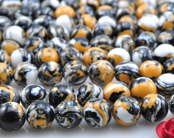64 pcs of Tiger skin smooth round beads in 6mm