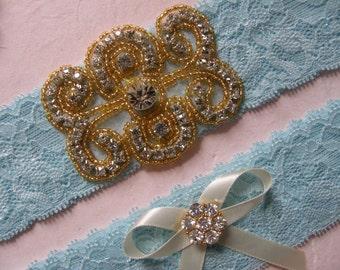 Something Blue - Wedding Garters / Bridal Garter / Toss Garter / Garter Set / Vintage Inspired Lace Garter, Rhinestone Garter, Gold Accent