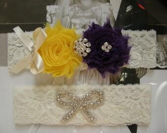Wedding Garter / Yellow & Purple / Bridal Garter / Toss Garter / Vintage Inspired / Lace Garter