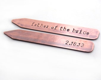 Father of the Bride gift, Collar Stays, Copper Collar Stays, wedding gift for dad, Metal, Hand Stamped, gift for dad, gift for him