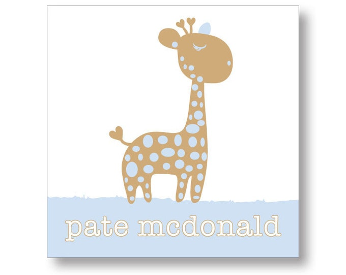 Personalized Baby Giraffe | Sticker or Calling Card