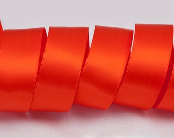 "Autumn Orange Ribbon, Double Faced Satin Ribbon, Widths Available: 1 1/2"", 1"", 6/8"", 5/8"", 3/8"", 1/4"", 1/8"""