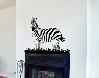 Zebra Wall Decal Cute Vinyl Sticker Home Arts Animal Wall Decals Decor  Africa Pattern WT062