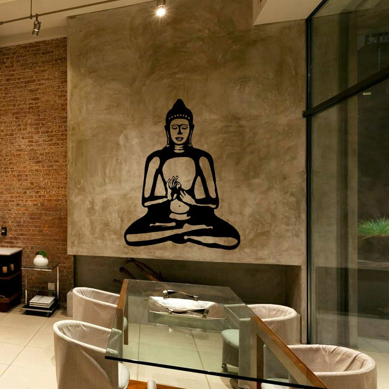Buddha wall decal cute vinyl sticker home arts wall decals for Buddha decorations for the home uk