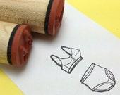 Granny Panties & Vintage 50s style Bra Rubber Stamp Set, knickers, pants, underwear