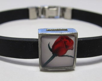 Love Red Rose Link With Choice Of Colored Band Charm Bracelet