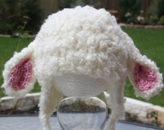 Baby Lamb Crochet Hat; Newborn Photo Prop