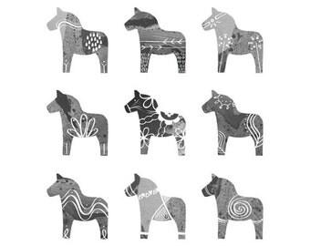 Swedish Dala Horse Print - 8 x 10 - Scandinavian Print - Monochromatic Gray Black and White