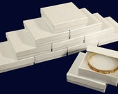 """New 12 White Cotton Filled Jewelry Gift Boxes Size 3 1/2"""" X 3 1/2"""