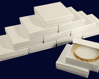 "New 12 White Cotton Filled Jewelry Gift Boxes Size 3 1/2"" X 3 1/2"