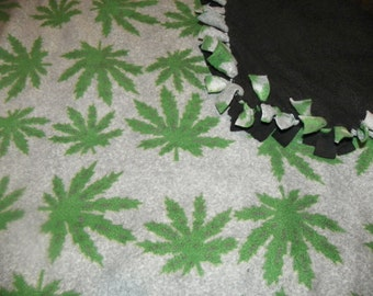 Hemp Leaf Blanket with a Black Backing   Size 39x60in   Hand Made  One of a Kind