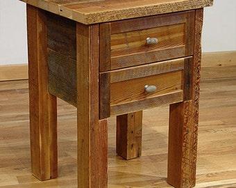 Reclaimed barn wood Rustic Big Barn 2-Drawer Nightstand
