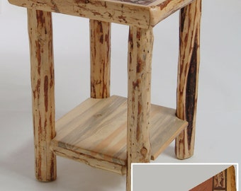 Rustic log furniture Mountain Hewn Tile End Table