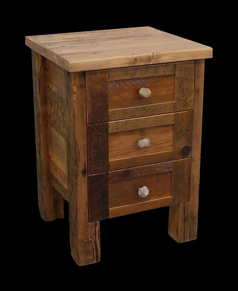 Reclaimed wood rustic night stand for How to make a nightstand higher