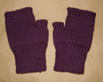 Hand knit Fingerless Gloves - Dark Purple