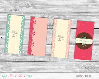 Printable Mini Candy Wrappers - Pink Lace Baby Shower (babyshower printable, candy bar wrapper, candy printable, candy label)
