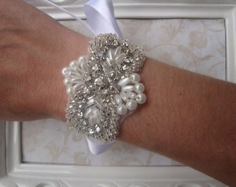 Bridal Bracelet - Rhinestone Bridal Bracelet - Pearl and Rhinestone Bridal Cuff - Bouquet Wrap