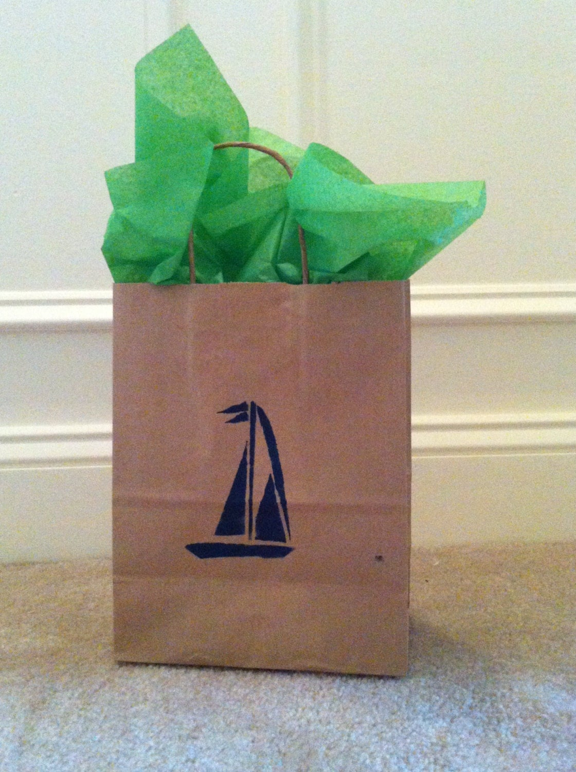 Kraft Paper Bags Wedding Welcome Favor Bag Sailboat Image