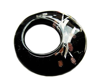 Round Lampwork Dichronic black,copper ,silver and Glass Pendant -Ideal glass for pendant or necklace by GepArtJewellery.