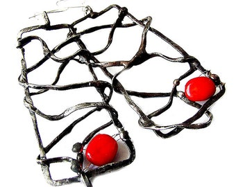 Red Coral earrings vintage retro Charm natural stone in ornamental copper forged wire ideal gift for Her by GepArtJewellery.FREE SHIPPING!