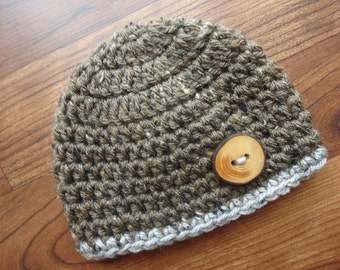 Crocheted Baby Boy Hat with Wooden Button, Crocheted Baby Beanie - Brown Tweed with Wooden Button - Newborn to 5T - MADE TO ORDER