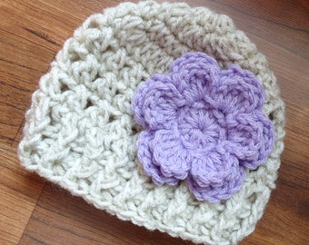 Crocheted Baby Girl Hat with Flower, Crocheted Baby Beanie - Oatmeal with Lavender Flower - Newborn to 5T - MADE TO ORDER