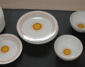 Mid-Century Georges BRIARD PLATES BOWLS Florette Pattern Orange Yellow and White Dinnerware China