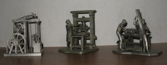 Vintage Franklin Mint Inventor Series Pewter Figurines Set Of