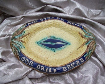 Antique MAJOLICA  Poiiery Basketweave BREAD TRAY-Give Us This Day Our Daily Bread