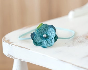 Turquoise Flower Headband, Baby Headband, Newborn Headband, Photography Prop, Flower Headband, Girl Headband
