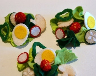 Felt Food Large Green Salad Children's Play Food