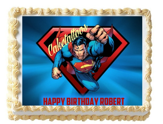 Superman Edible Cake Images : Caketattoos on Etsy