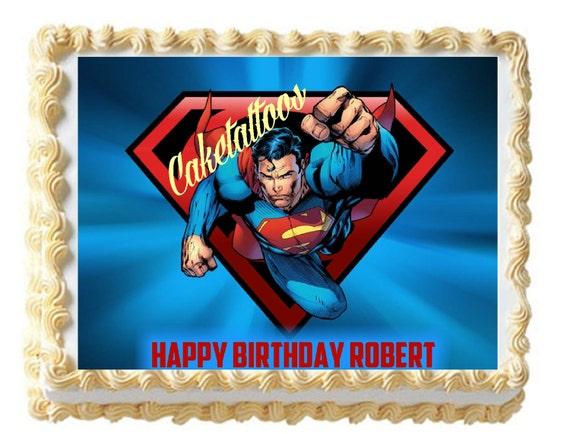 Superman Edible Cake Images : Caketattoos on Etsy