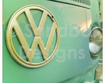 4 x 4 photo card-Baby blue VW bus