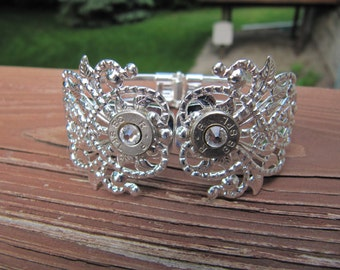 Country Wedding - Bridesmaid Jewelry - Country Bridal Party Bullet Jewelry 38 Special Silver Cuff Crystal - Bullet Cuff - Bullet Bracelet