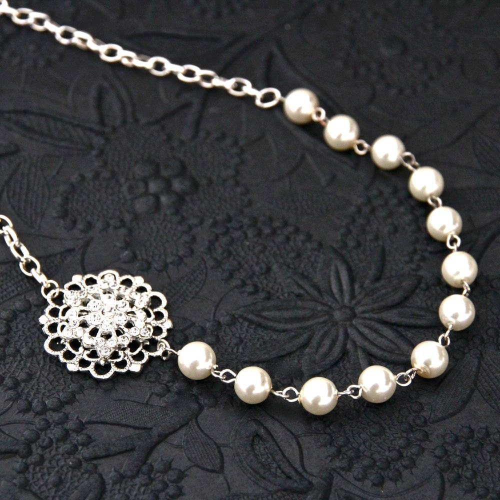 Bridal Wedding Necklace Vintage Style Wedding Jewelry Ivory
