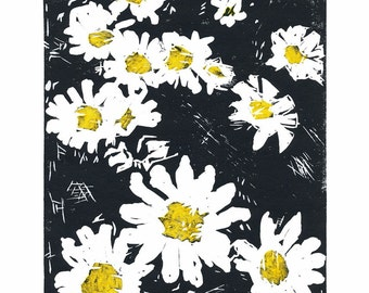 Daisy Faces, 2 Color Linocut Relief Print, Flowers, Hand Pulled Fine Art, Limited Edition, Printmaking Original